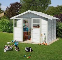 Garden Deco 4,9 White & Green Shed
