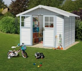 Garden Deco 4,9 White & Blue Shed