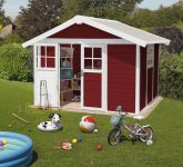 Garden Deco 7,5 Burgundy & White Shed