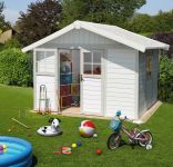 Garden Deco 7,5 White & Green Shed