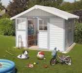 Garden Deco 7,5 White & Blue Shed