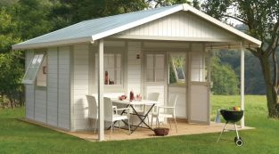 Garden Deco 20A White & Green Shed
