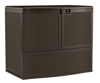 Wicker Style Garden Storage Cupboard - W122cm x D77cm