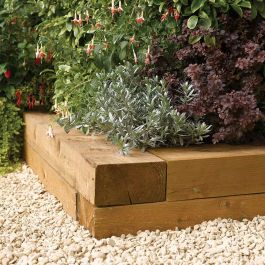 W1.8m (5ft 10in) Timber Sleeper Garden Edging Pack of 2 FSC® by Rowlinson®