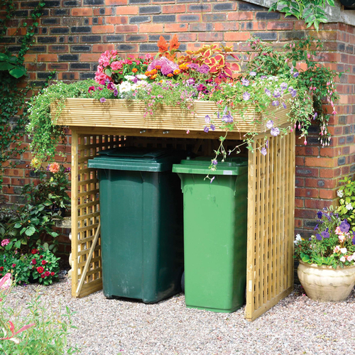 Double Wheelie Bin Storage with Planter by Kanny - W174cm x H146cm