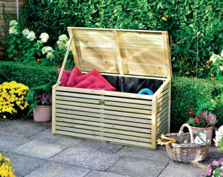 W1.22m (4ft) Wooden Patio Storette Storage Box FSC® by Rowlinson®