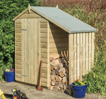 4x3 Apex Wooden Shed with Lean-To H6.5ft x W6.5ft