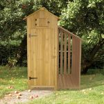 11.5m x 1.8m Wooden Tool Shed with Log Store