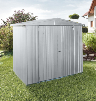 Europa Silver Metallic 7ft 5in x 7ft 5in Heavy Duty Galvanised Steel Shed