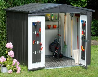 Europa Dark Grey 7ft 5in x 2ft 8in Heavy Duty Galvanised Steel Shed