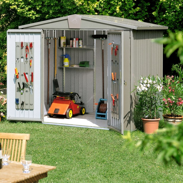 Europa Quartz Grey 7ft 5in x 7ft 5in Heavy Duty Galvanised Steel Shed