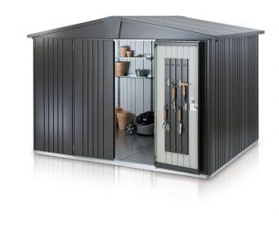 Europa Dark Grey 9ft 9in x 9ft 9in Heavy Duty Galvanised Steel Shed