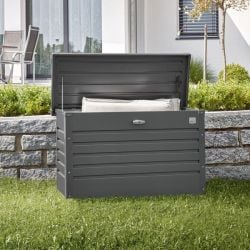 Leisure Time 100 Grey Galvanised Steel Garden Storage Box W101cm