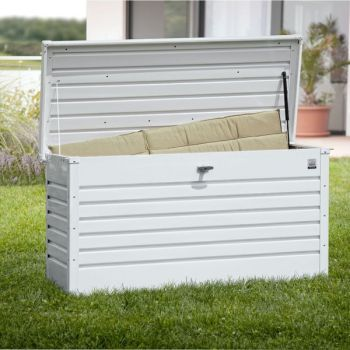 Leisure Time 130 White Galvanised Steel Garden Storage Box W134cm