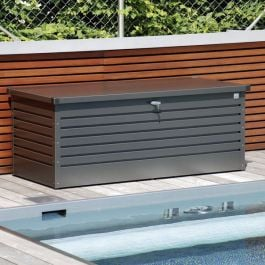 Leisure Time 180 Grey Galvanised Steel Garden Storage Box W181cm