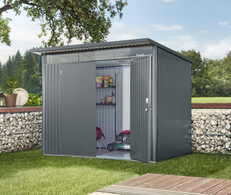 Avant Garde Grey 8ft 5in x 11ft Double Door Galvanised Steel Shed