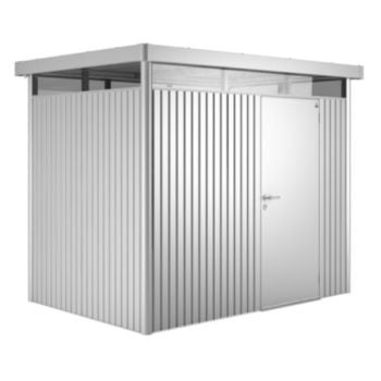 Highline Metallic Silver 8ft 5in x 8ft 5in Heavy Duty Galvanised Steel Shed with Single Door