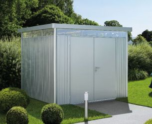 Highline Metallic Silver 8ft 5in x 5ft 9in Heavy Duty Galvanised Steel Shed with Double Door