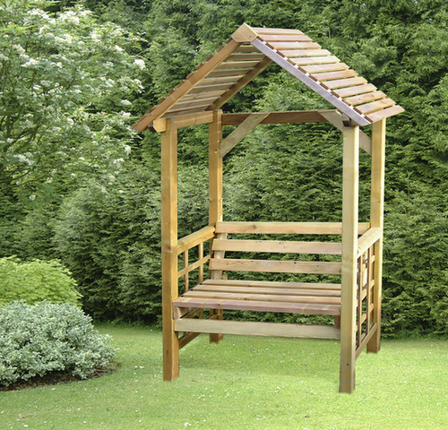 Athena Timber Garden Arbour with Fixed Seat H1.98cm