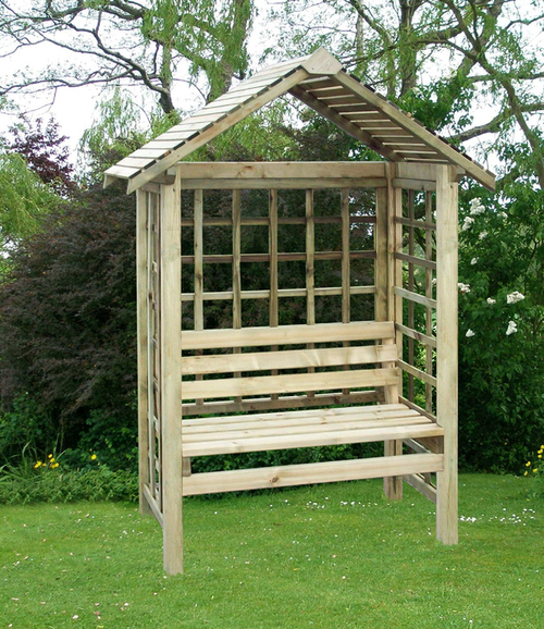 Cassandra Timber Fixed Seat Garden Arbour with Trellis H1.91m