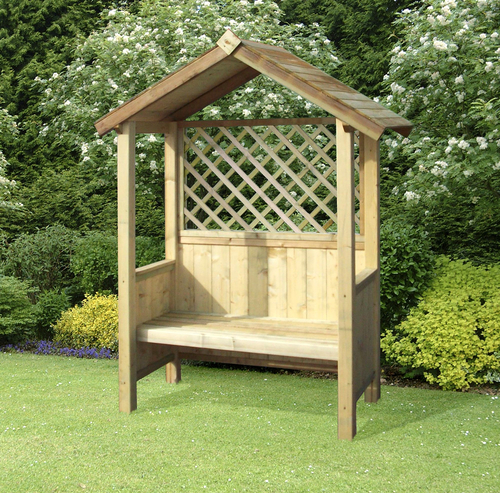 Artemis Timber Fixed Seat Garden Arbour with Trellis H2.04m
