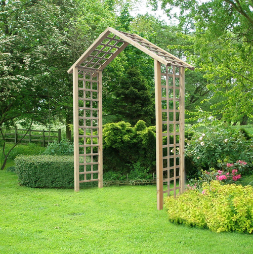 Atlas wooden timber garden arch with trellis for Timber garden arch designs