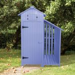 179cm x 131cm Garden Wooden Tool Shed with Log Store - Blue