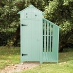 179cm x 131cm Garden Wooden Tool Shed with Log Store - Green