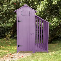 179cm x 131cm Garden Wooden Tool Shed with Log Store - Plum