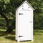 179cm x 77cm Garden Wooden Tool Shed - White