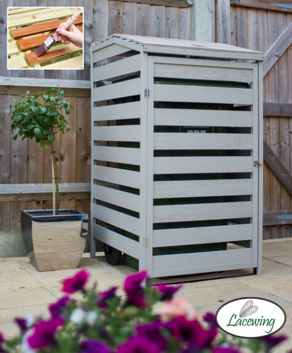 240L Single Wooden Slatted Wheelie Bin Store by Lacewing™