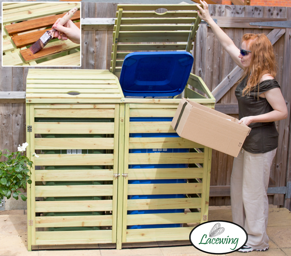 240L Double Wooden Slatted Wheelie Bin Store by Lacewing™