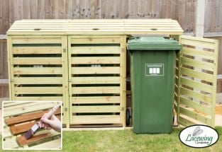 240L Triple Wooden Slatted Wheelie Bin Store by  Lacewing™