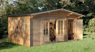 Wrekin Log Cabin 4.5m x 3.5m (14.7 x 11.5ft)