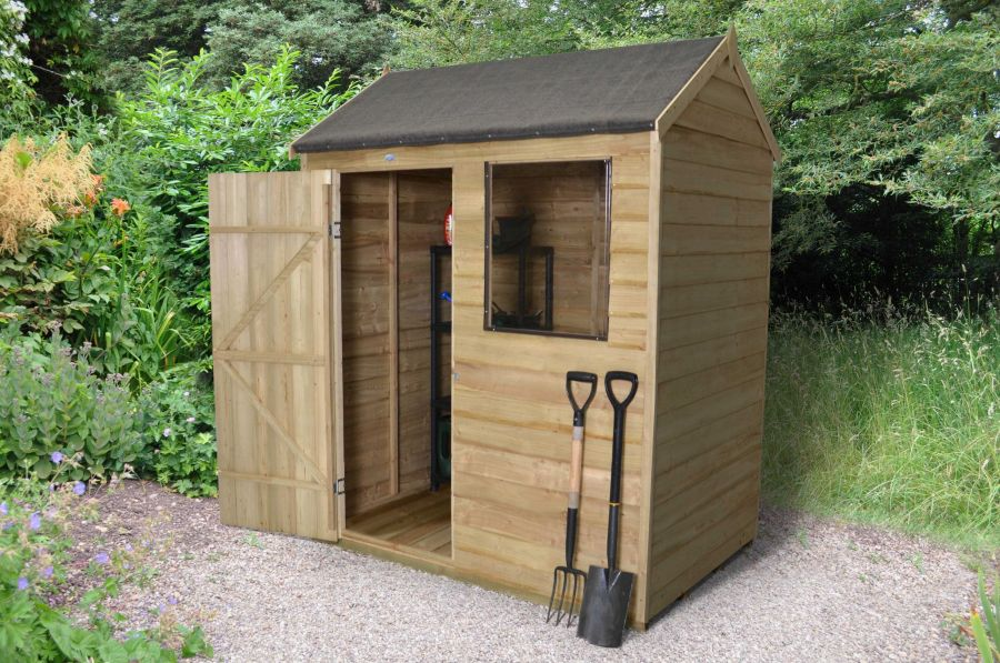 Reverse Apex Overlap Pressure Treated Shed - 6 x 4ft