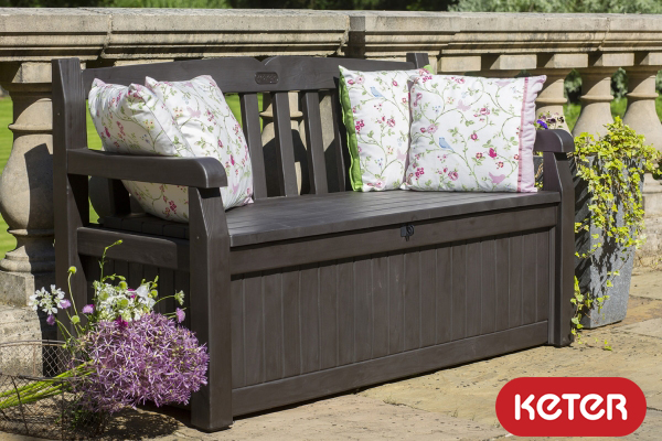 Keter Iceni Wood Look 265L Garden Storage Bench