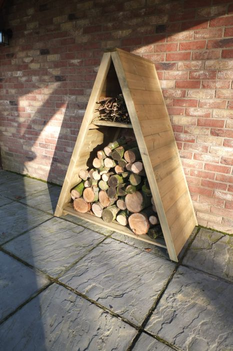 Large Tongue & Groove Triangular Log Store Pressure Treated