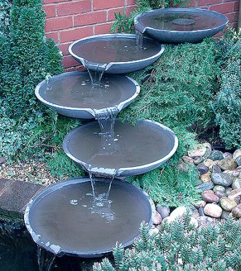Galena Five Bowl Cascading Water Feature - Slate