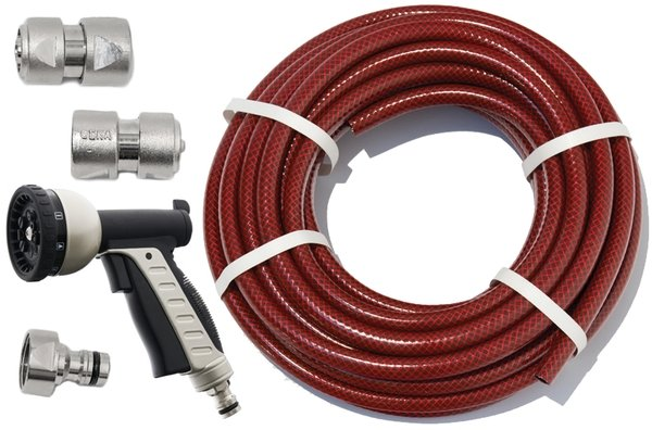 "100m Garden Hose Kit with ½"" Geka® Connectors and 10 Setting Spray Gun"