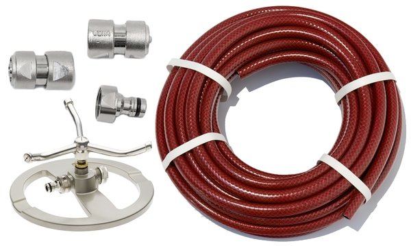 "100m Garden Hose Kit with ½"" Geka® Connectors and 3 Arm Sprinkler"