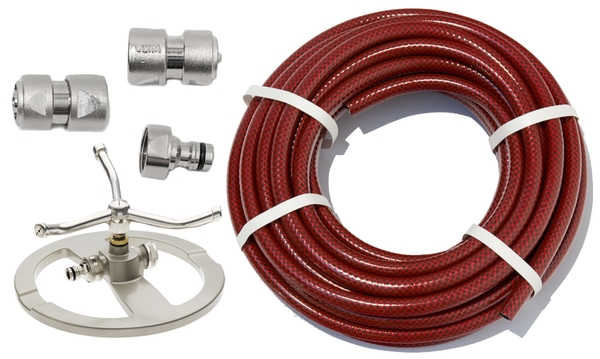 "15m Garden Hose Kit with ½"" Geka® Connectors and 3 Arm Sprinkler"