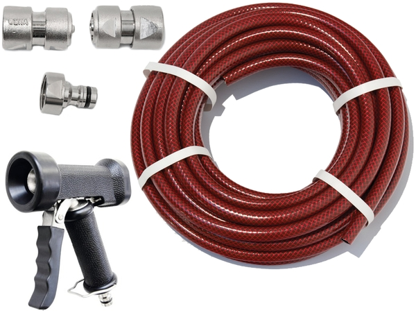 "15m Garden Hose Kit with ½"" Geka® Connectors and Heavy Duty Cleaning Gun"
