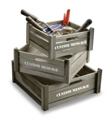 Personalised Aged Grey Handi-Crates - Set of 3