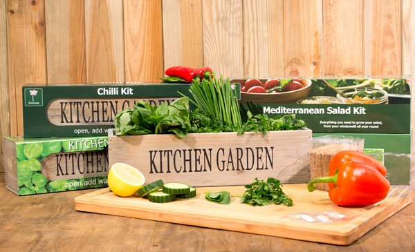 Ultimate Grow Your Own Kitchen Gardens Kit - 3 Windowsill Planters with Seeds and Compost
