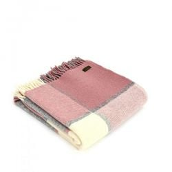 Lifestyle Block Check Throw - 150 x 183cm - Charcoal & Dusky Pink