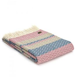 Lifestyle Ripple Throw - 150 x 183cm - Dusky Pink & Oatmeal
