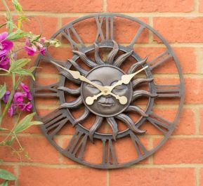 Decorative Garden Sun Clock in a Copper Finish - 38cm (15