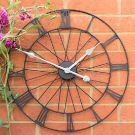 Bicycle Wheel Metal Garden Clock in a Black Painted Finish - 50cm (19.7