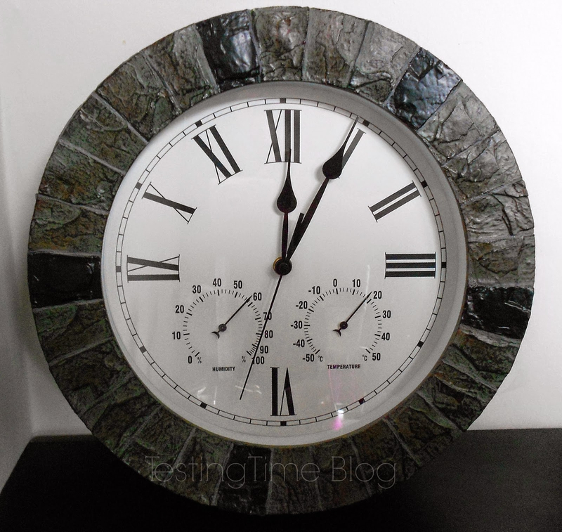 Slate Effect Outdoor Garden Clock With Thermometer