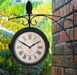 Greenwich Swivel Metal Garden Station Clock with Thermometer in Black - 15cm (6in) - by About Time™